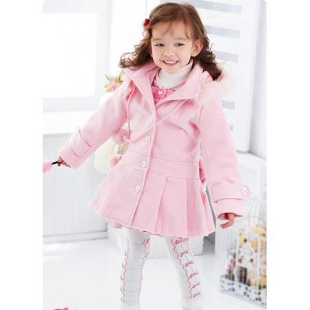 Maciel fur hood jacket pink
