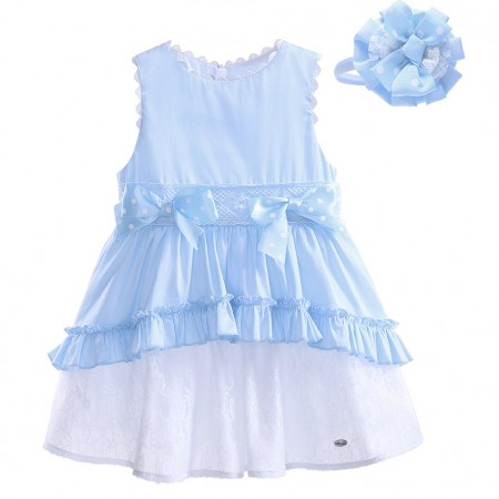 Designer blue lace dress with headband set