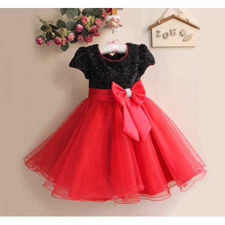 Red & black sparkle diamante bow dress