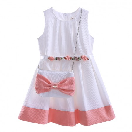 Designer peach & cream dress and bag set