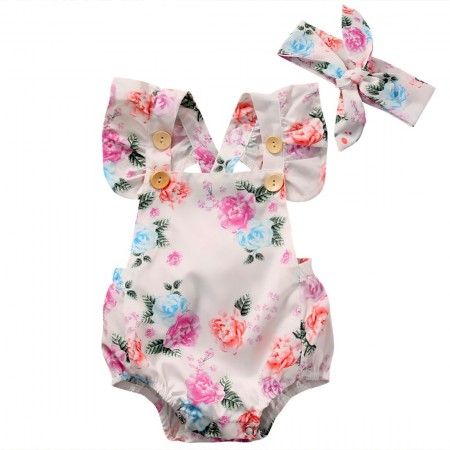 Ayleigh floral romper & headband set