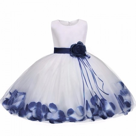 Fairy petals flower dress - blue saphire
