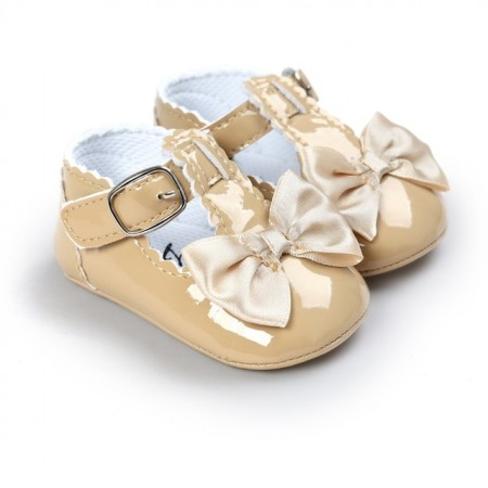 cream bow patent t-bar shoes
