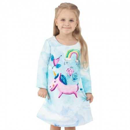 Fairy-tale unicorn & rainbows dress