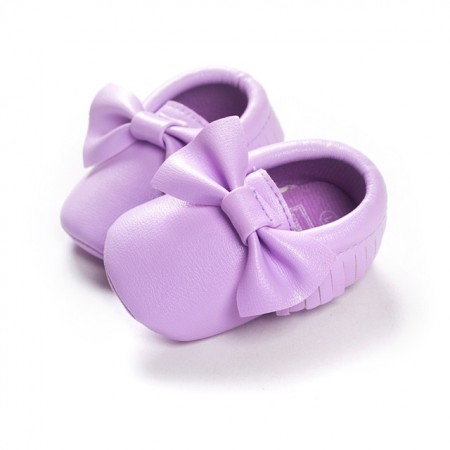 Lilac bowknot moccasins first walkers