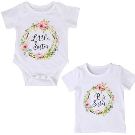 little sister - big sister floral romper t shirt