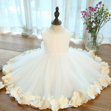 Ivory 3d flower petal & pearl dress