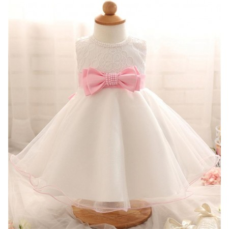 Ebony-Rose pearl bow dress - pink
