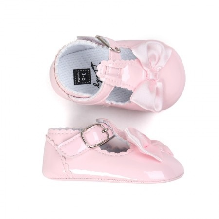 pink bow patent t-bar shoes pre-walkers