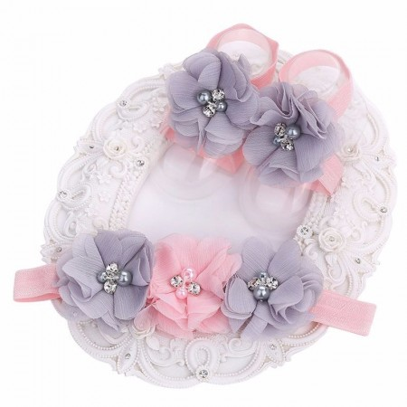 Barefoot shoes & headband pink-grey