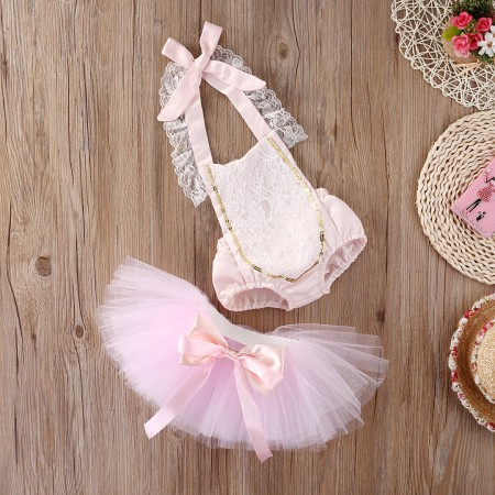 Pink lace fairytale romper and tutu outfit