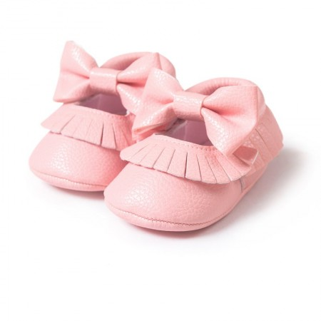 Pink bowknot moccasins first walkers