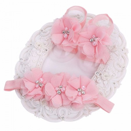 Barefoot shoes & headband baby pink