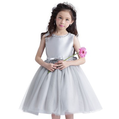 Adalyn silver pearl bow party dress