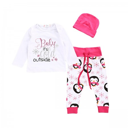 Little chilly penguins top pants and hat