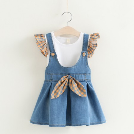 Prinny denim pinafore - orange check