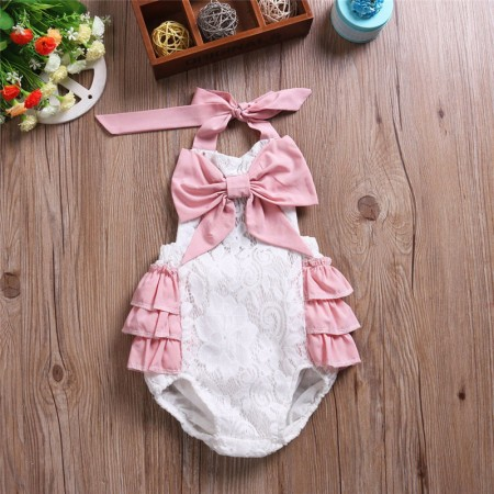 Harlow big bow romper with white lace