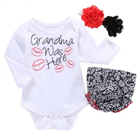 Grandmas kisses romper pants & flower band
