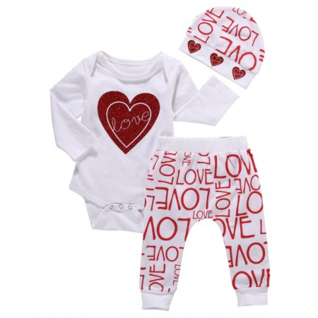 Love heart romper pants and hat outfit