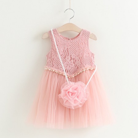 Rosette lace & pearl dress with bag - pink
