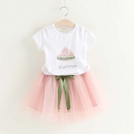 Watermelon tee and chiffon skirt set