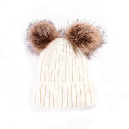 Double pompom wooly hat - cream