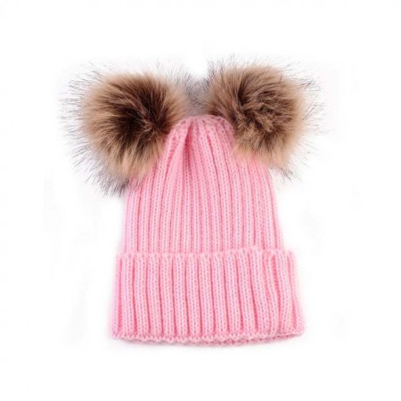 Double pompom wooly hat - pink