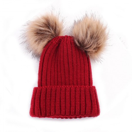 Double pompom wooly hat - red