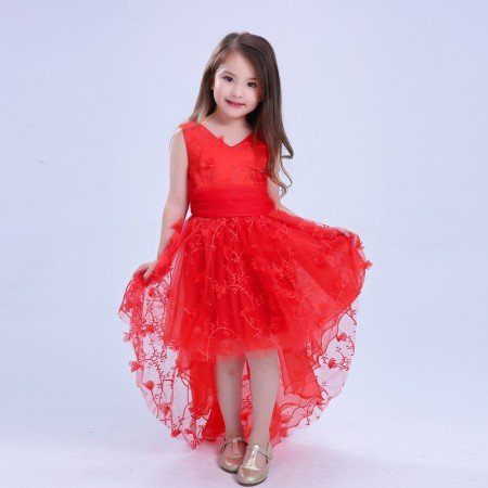 Serenity embroidered red occasion dress