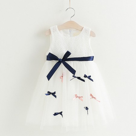 Aisha white ribbon bow chiffon dress