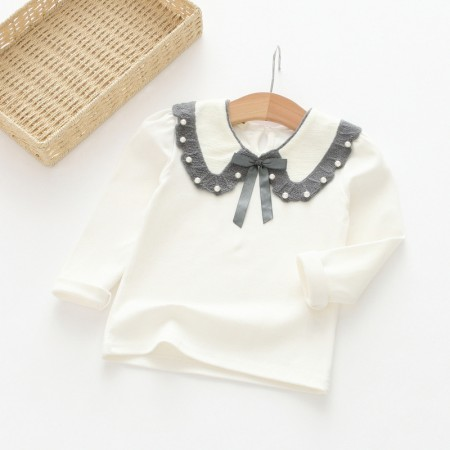 Milana beaded collar long sleeve top - grey