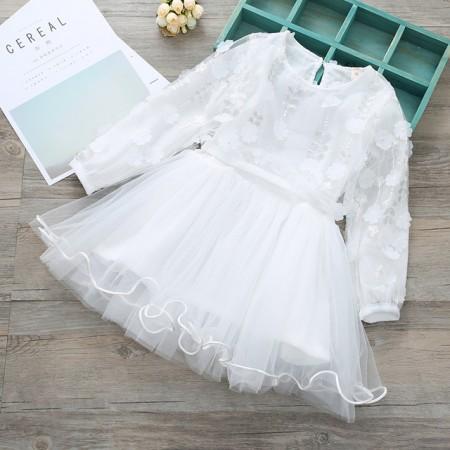 Savannah 3d flower petal dress- white
