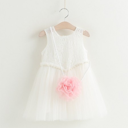 Rosette lace & pearl dress with bag - white