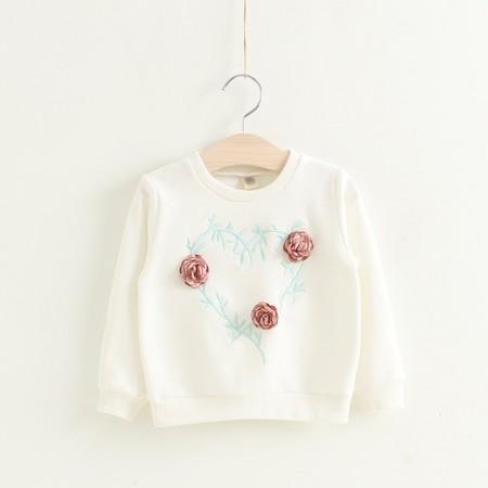 Kalleice rose long sleeve top - white