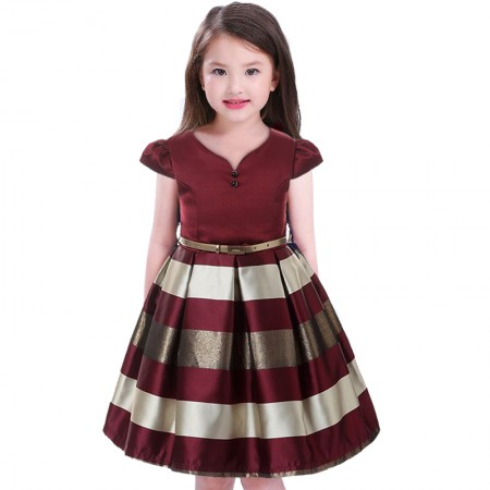 Jocelynn wine and gold belted dress