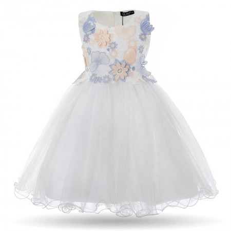 Ailana Leia 3d flower dress - daisy white