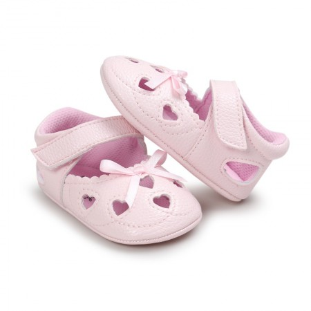 little tots heart pram shoes - pink