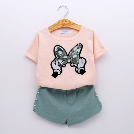 Minnie sequin bow  top and shorts - green