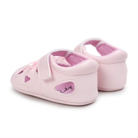 little tots heart pram shoes - pink