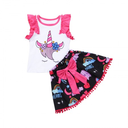 Unicorn dreams ruffle top and skirt outfit