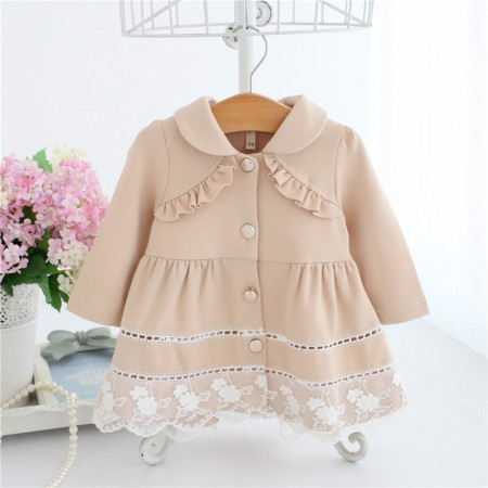 Aida ruffles and lace spring coat - cream