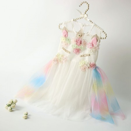 Celestia adorned rainbow unicorn dress