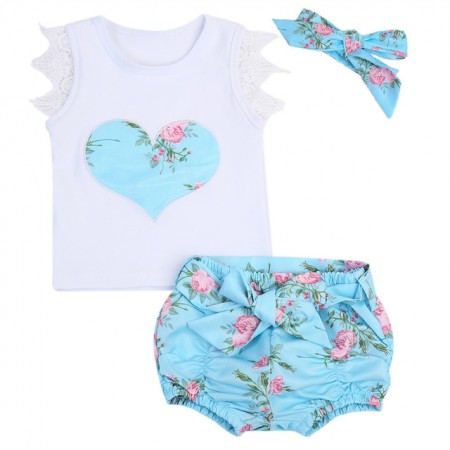 LouLou floral shorts, top and headband set