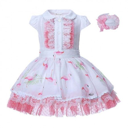 Spanish boutique outfit with headband - flamingo