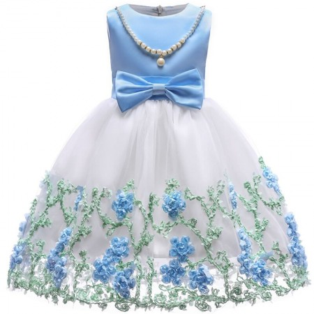 Eden floral dress with pearls - powder blue