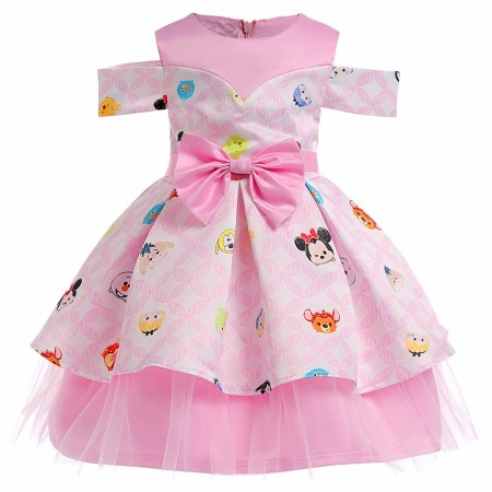 Disney tsum tsum off shoulder dress - pink