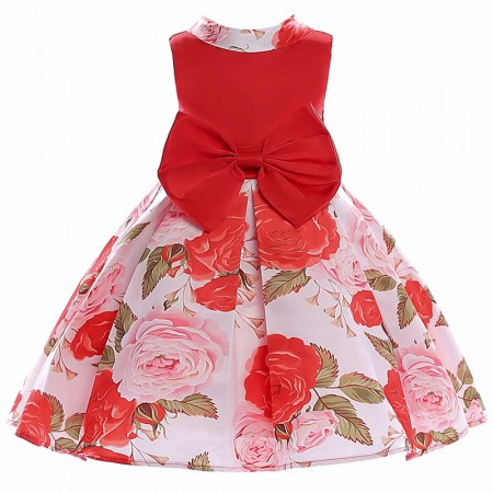 Julietta roses and bow dress - rose red