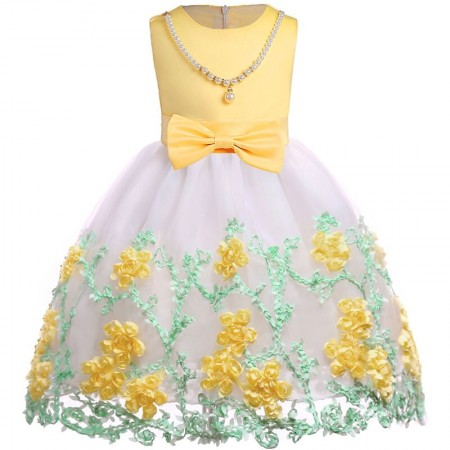 Eden floral dress with pearls - sunflower