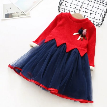Hollie red and blue wool dress