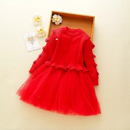 Red cut out wool and tulle dress
